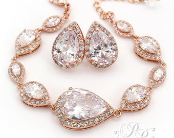 Wedding Earrings Wedding Bracelet set Rose gold Zirconia Earrings Bridal Bracelet Wedding Jewelry Bridal Jewelry Bridal Earrings Pam