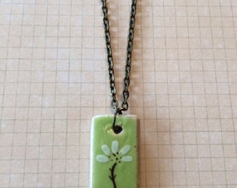 Ceramic Necklace - Ceramic Jewelry - Ceramic Pendant - Ceramic Pendant Necklace - Green Necklace - Green Jewelry - Green Pendant - Necklace