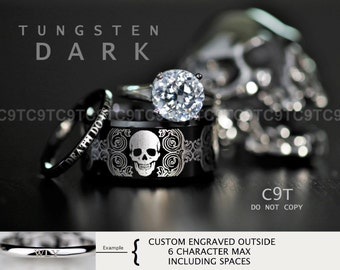 tungsten wedding ring set rocker biker skull 3 piece set custom engraved - Biker Wedding Rings