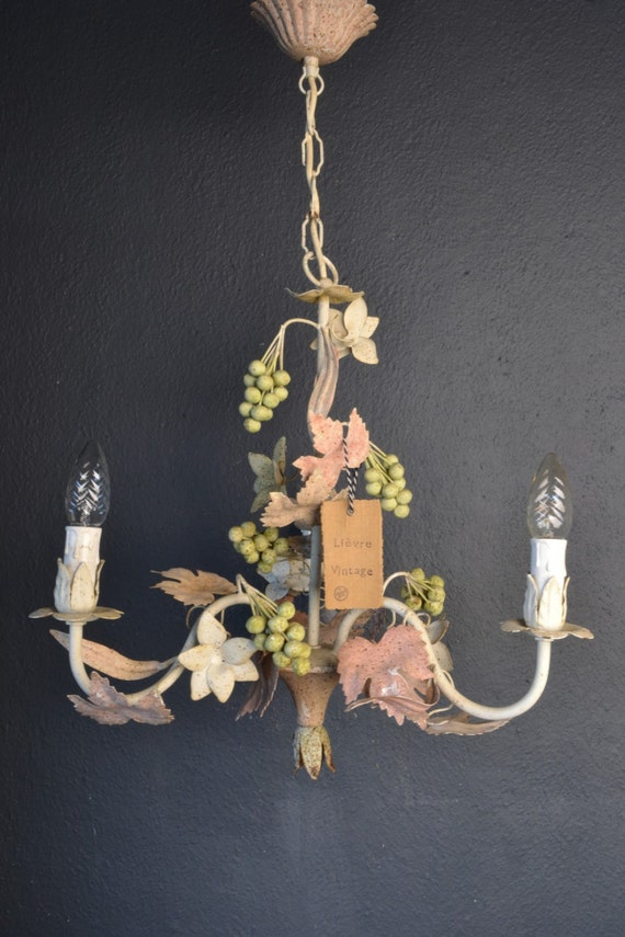 Beautiful old tole Chandelier with metal flowers and grapes