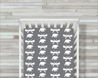 CoolSpool Woodland Crib Sheet, Crib Bedding, Bear Crib Sheet, Bear Crib Bedding, Rustic Crib Sheets, Fitted Crib Sheet, Crib Bedding, Gray