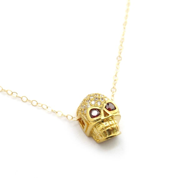 Gold Pave Skull Charm Necklace
