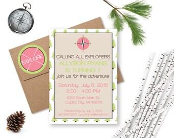 Girl Explorer Party Invitation, Nature Birthday, Explorer Birthday, Adventure Party, Girl Camping Party, Printable Invitation, Girl Scouts