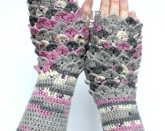 SMALL size, Hand Crocheted Fingerless Gloves, Gift Ideas, For Her, Gloves & Mittens,  Grey, Pink, Ivory, Crocodile Stitch, READY to SHIP