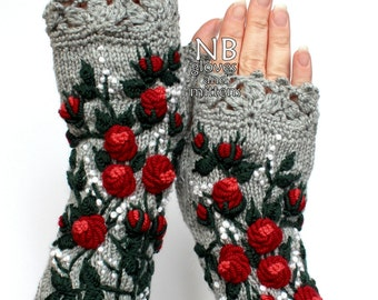 Knitted Fingerless Gloves, Roses, Grey, Red, White Small Dots, Long,Accessories,Gloves & Mittens
