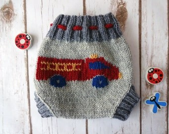 SMALL Wool Cloth Diaper Cover, Fire Truck, Baby Boy, Hand Knit Cloth Diaper Cover, Firetruck, Diapering, Soaker, Wooly, Shorty, 100% Wool