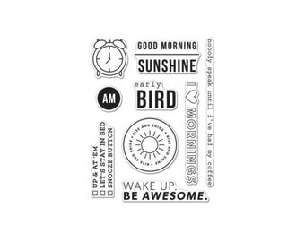 Hero Arts - Kelly Purkey - Kelly's Good Morning - 3in x 4in Clear Stamp Set - 9 pieces - CM140