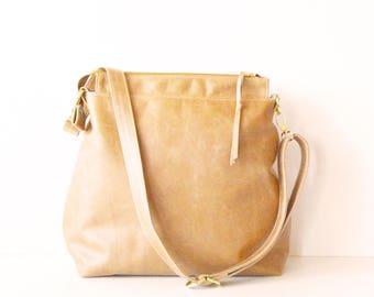 Leather hobo bag / Leather crossbody bag / Leather bag / Leather zipper hobo bag / Soft camel leather bag /  Hazlenut Leather Hobo bag