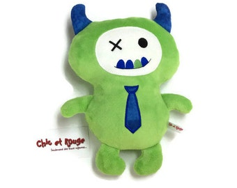 "PROMO plush 12 "", Green Monster and cobalt, minky, cotton and felt wool, embroidery tie"