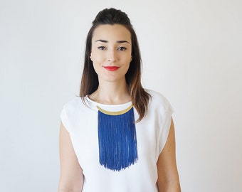Summer Party Summer Outdoors Statement Necklace Blue Fringe Necklace Women Gifts For Her Bestfriend Gifts For Mom / CHEORA