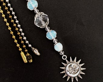 celestial light pull crystal and moonstone ceiling fan pull chain decorative ball chain pulls