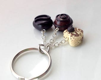 Chocolate Keychain [keyring] Polymer Clay Miniature Food Jewelry [jewellery] Food Keychain Accessories Gift Idea Gifts for Her