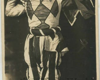 Man as clown harlequin antique photo