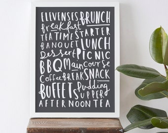 "8x10"" Meal Names Food Print - Kitchen Print"
