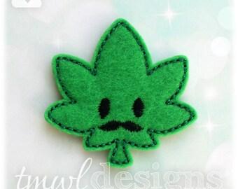 """Mustache Hash Leaf Feltie Digital Design File - 1.75"""""""