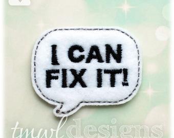 "Fix It Talk Bubble Feltie Digital Design File - 1.75"""