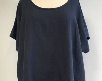 Midnight Blue Linen Plus Size Top