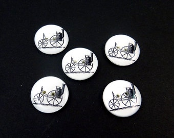 "5 Steampunk Steam Machine Sewing Buttons.  3/4"" or 20 mm. Washer and Dryer Safe."