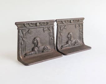 Antique Egyptian Revival Metal Bookends