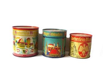 Set of 3 Vintage Tin Boxes 1960s Lithographed Tin Gingerbread Box Haeberlein Metzler