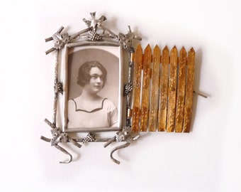 Antique Wall Picture Frame Shaped Garden Door with Lock Silver Plate Frame with chiseled Brass Door Napoleon III