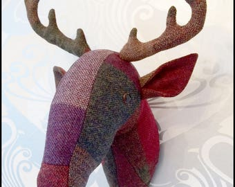 Wool Tweed Faux Taxidermy Deer Head Wall Mount
