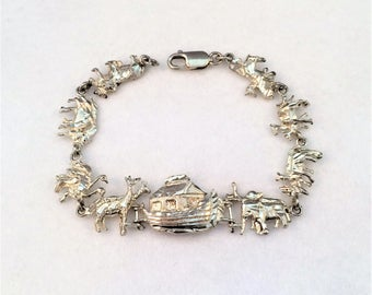 Reserve for Jennifer - Vintage Sterling Silver Noah's Ark with Animal Pairs Bracelet