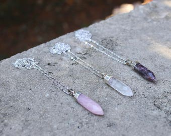 Crystal Stone Necklace // Rose Quartz, Crystal Quartz, Amethyst // Minimal Necklace // Silver Layering Necklace // Geometric Necklace / Boho