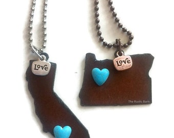 CALIFORNIA or OREGON State Shape Necklace faux heart and love made of rusty recycled metal