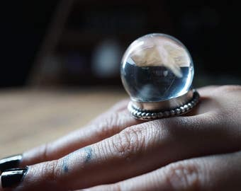 Clear Quartz Crystal Ball Ring - Sterling Silver Crystal Ball Ring - Boho Rings Sterling Silver - Chunky Ring