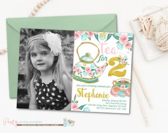 Tea Party Birthday Invitation, Tea for Two Invitation, Tea Party Invitation, Tea for 2 Invitation, Tea for Two Birthday Invitation