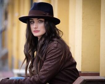Navy blue fedora hat - Navy blue felt hat - Women hat - Wide brim felt hat - Unisex fedora hat