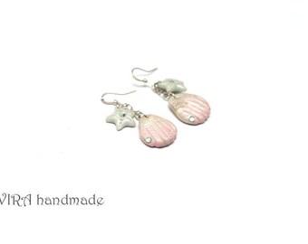 Cute Sea Shell and Sea Star Earrings