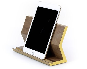 Tablet Stand | Tablet Perch | Tablet Holder | iPad Pro Stand | Walnut, White Oak, or Birch + Colored Laminate | 2 sizes available