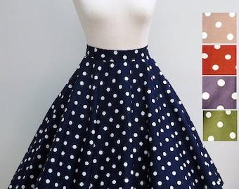 Various colours - polka fifties style full circle skirt, swing skirt, in UK sizes 6-24