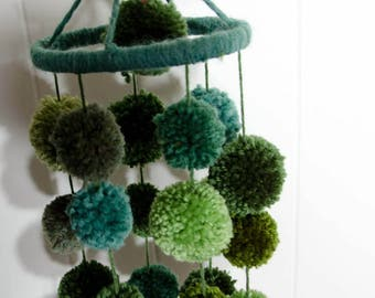 """Hunter Green PomPom Mobile   22 - 1"""" and 2"""" PomPoms -  Nursery Mobile Rustic Decor  Enchanted Forest Inspired"""