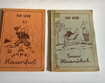 Vintage German Children's Book Set by Valerie Bittner -- Susi Hasenohrl - Eugenie Schilling - Hopsi Hasenfuss - Learning a Language for Kids