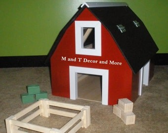 Customized Wooden Toy Barns with Hay Bales Straw Bales & Fences ***Month of July only SPECIAL 25% OFF 50.00 or More***