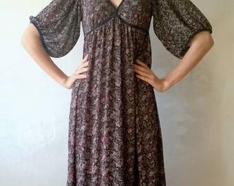 Floral summer retro dress, women 80s, 90s, decollate dress, vintage maxi dress, boho long dress, hippie fashion, , medium, 38 (GP87)