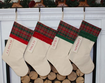 Personalized Plaid Christmas Stocking Red and Green Plaid stocking red flannel christmas plaid classic stocking