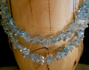 Two Strand BLUE TOPAZ NECKLACE*17 1/2 Inches*December Birthstone