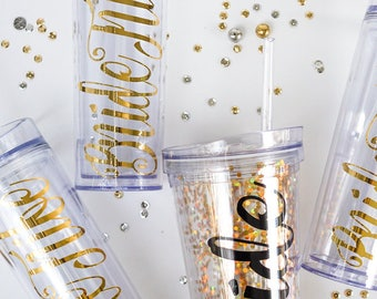 Bride Tribe Tumblers, Bridesmaid Gifts, Bachelorette Party Cups, Gold, Skinny Tumblers, Bride Tribe, Bridal Party Gifts, Confetti Tumblers
