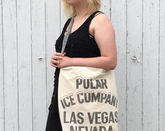 Market Tote Bag, Vintage Upcycled, Polar Ice Sack, Las Vegas SVG, Monochrome Art, Black and White, Large and Roomy, Artisan Handcrafted