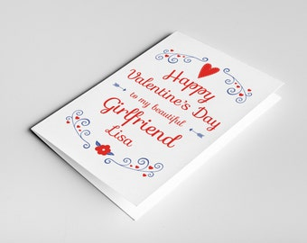 Girlfriend Valentine's card, card for girlfriend, girlfriend Valentine, card for her, valentine card her, Valentines day card, love card