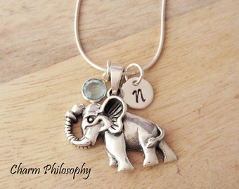 Elephant Necklace - 925 Sterling Silver Jewelry - Trunk Up Elephant Pendant - Personalized Initial and Birthstone