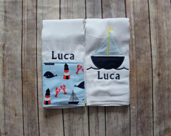 Monogrammed Boy Burp Cloth Gift Set, Nautical Sailboat Whale Baby Boy Gift, Nautical Baby Shower Gift, New Baby Boy Gift, Monogrammed Boy