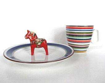 Danish Modern Porsgrund Saga Salad Plate, Blue And Green Modern Luncheon Plate From Norway, Scandinavian Dinnerware