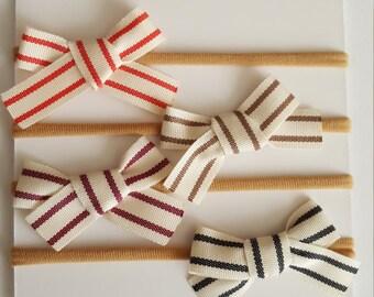 Twill striped mini bow clip or nylon headband