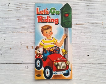 Let's Go Riding Book . 1954 . Whitman . Die Cut Paperback . Vintage 1950's Children's Book . Kid's Story . Diecut . Die-Cut . Cars . Trucks