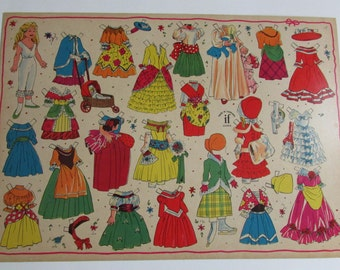 "Vintage Danish Un Cut Paper Doll ""if"" Paper Doll Made in Denmark 1950 Young Girl Paper Doll Victorian Paper Doll Cardboard Paper Doll"